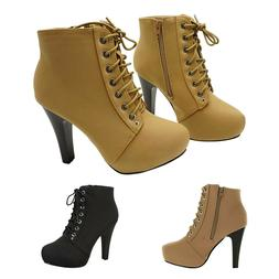 Women's Platform Ankle Boots Round Toe Lace Up High Heel Sti