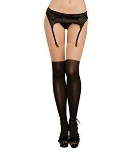 Dreamgirl Women's Sheer Thigh-High Stockings with Lace-Up Bo