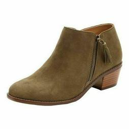 Vionic Women's Suede Ankle Boots Serena Olive Booties NIB!