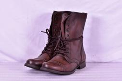 Women's Steve Madden Troopa Combat Boots, Brown Leather
