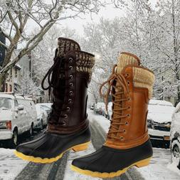 Women Waterproof Rubber Rain Skimmers Duck Boots Snow Winter