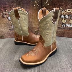 WOMEN'S WESTERN SQUARE TOE COWGIRL BOOTS BOTAS LEATHER DAMA
