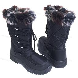 Women's Winter Snow Boots Black Fur Zipper Water Repellent I