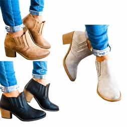 Women Slip On  Ankle Boots Ladies Casual Mid Block Heel Chun
