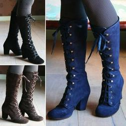 Women Steampunk Boots Gothic Vintage Punk Lace Up Mid-heel S