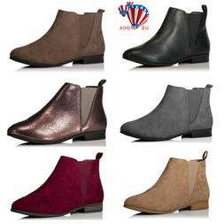 Womens Flat Chelsea Ankle Boots Ladies Casual Pull On Low Bl