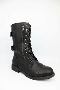 DailyShoes Womens High Lace up Military Combat Mid Calf Wall