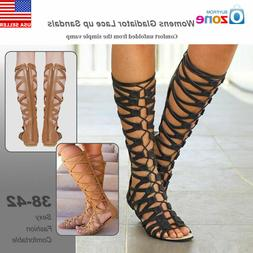 Womens Knee High Cut Out Lace Up Sandals Flat Gladiator Shoe