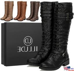 Womens Knee High Lace Up Buckle Fashion Military Combat Boot