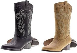Womens Ladies Faux Leather Western Cowboy Boots W/Traditiona