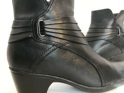 CLARKS WOMENS' LEATHER  ZIP UP DRESS/CASUAL ANKLE BOOTS-8.5M