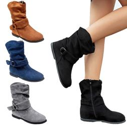Womens Mid Calf Extra Wide Ankle Boots Zip Casual Slouch Fla
