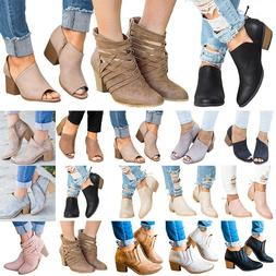 Womens Mid  Heels Booties Ankle Boots Zipper Fashion Low Sho