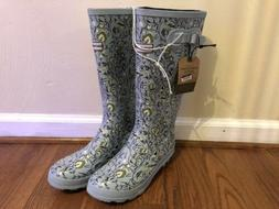 Smith And Hawken Womens Tall Rain Boots Size 9 Blue Green Fl