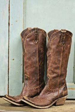 Womens Vintage Western Boots Cowboy Faux Leather Tall Steamp