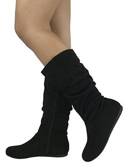 Wells Collection Womens Wonda Boots Soft Slouchy Flat to Low